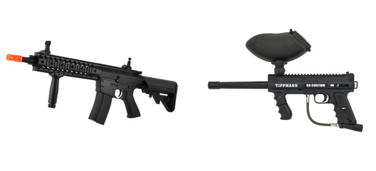 typical airsoft gun and paintball